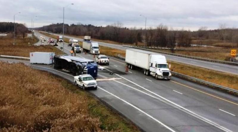 Semi-trailer overturned in Lancaster