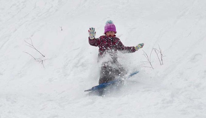 There was plenty of sliding… (Photo Janice Winsor)