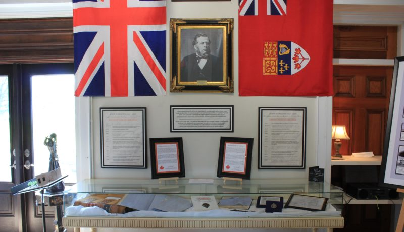 The John Hamilton display containing multiple memorabilia concerning his life as a captain of industry and politician.