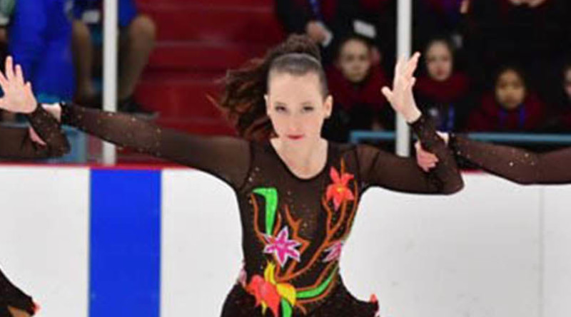 15-year-old VCI student competing at national synchronized skating competition