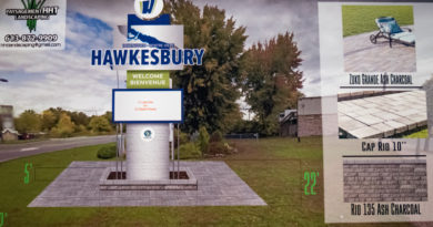 A sign: Upgrading the Hawkesbury Business Improvement Area's welcome