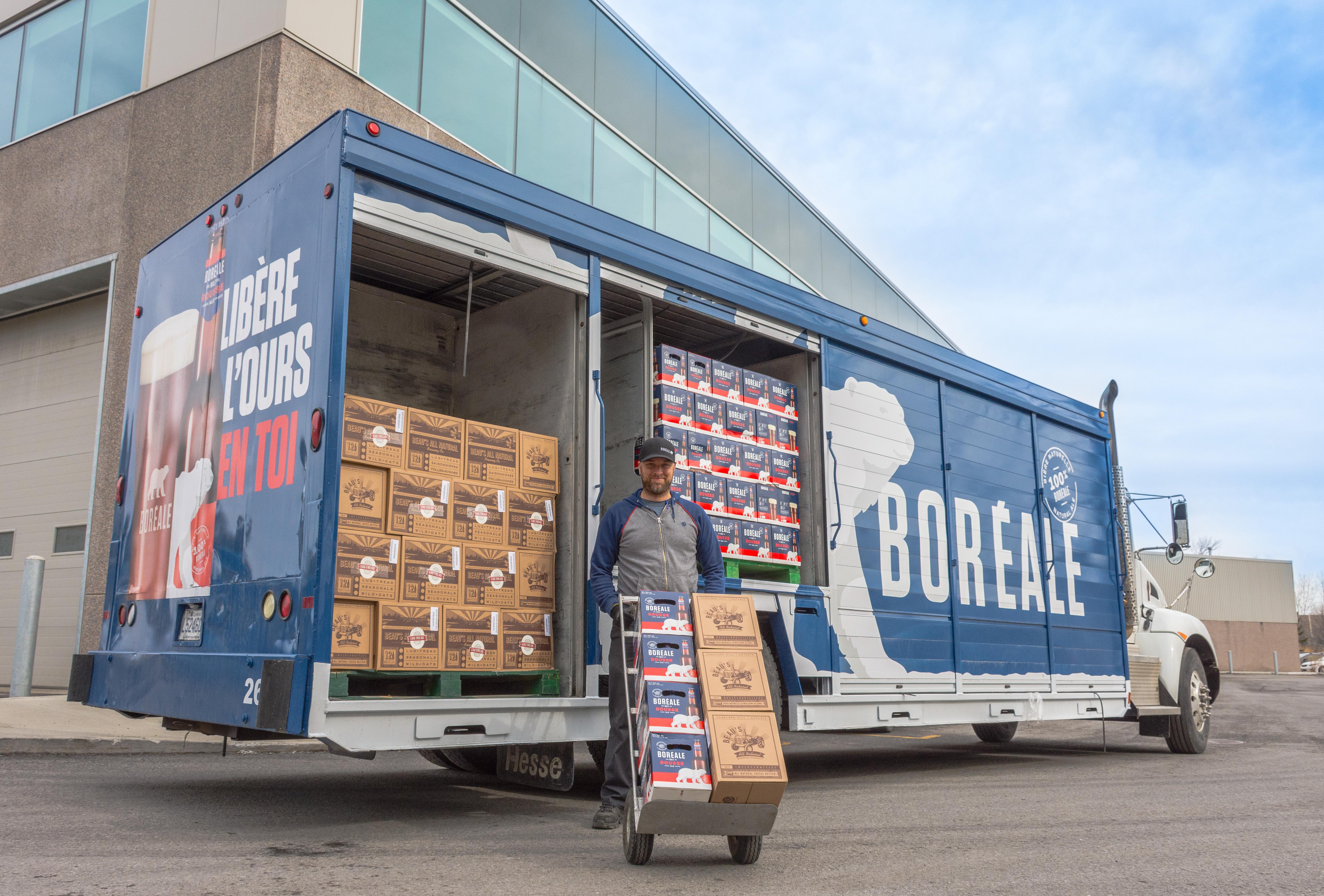 Beau\'s beers delivered in Boréale trucks