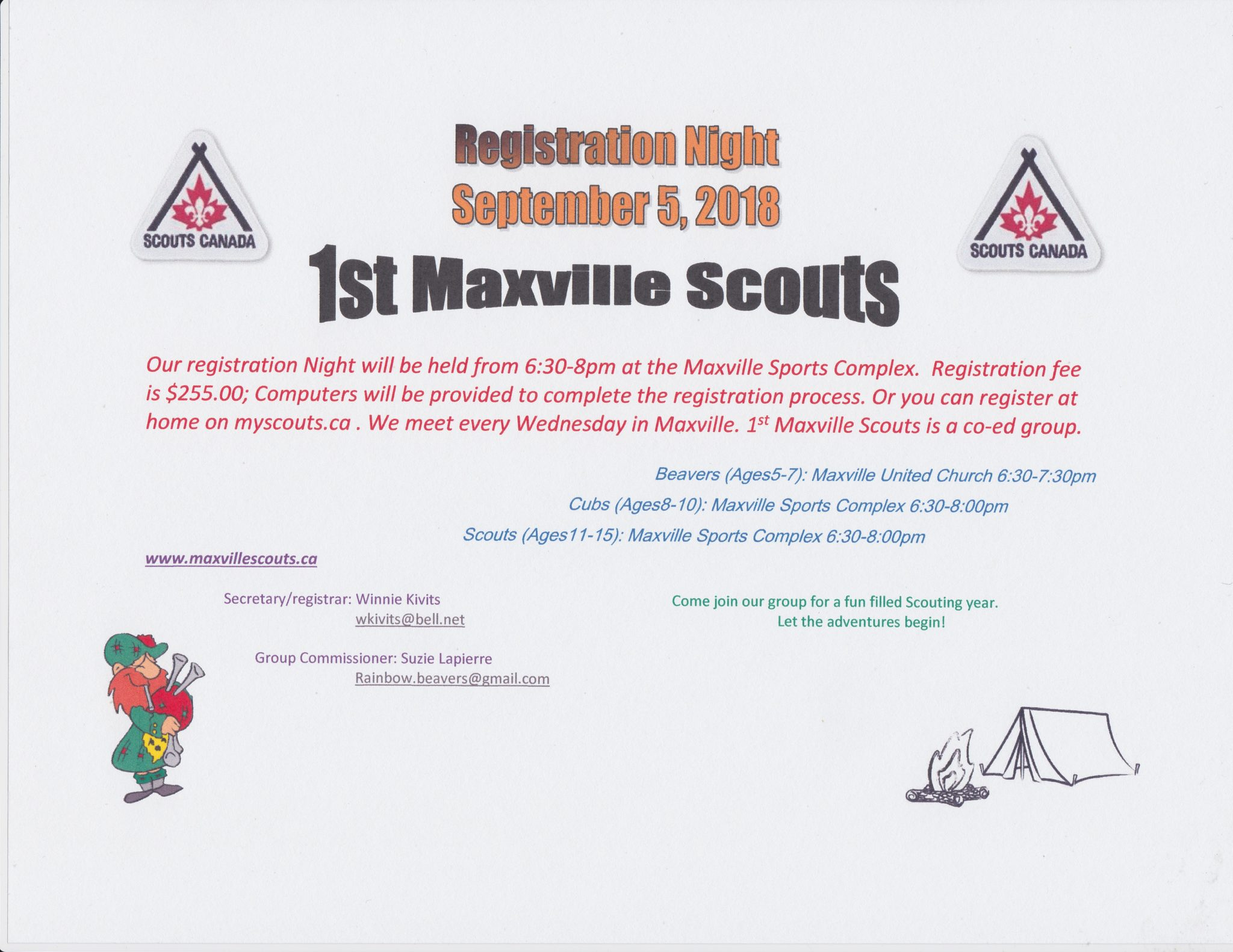 1st Maxville Scouts registration on September 5 at Maxville